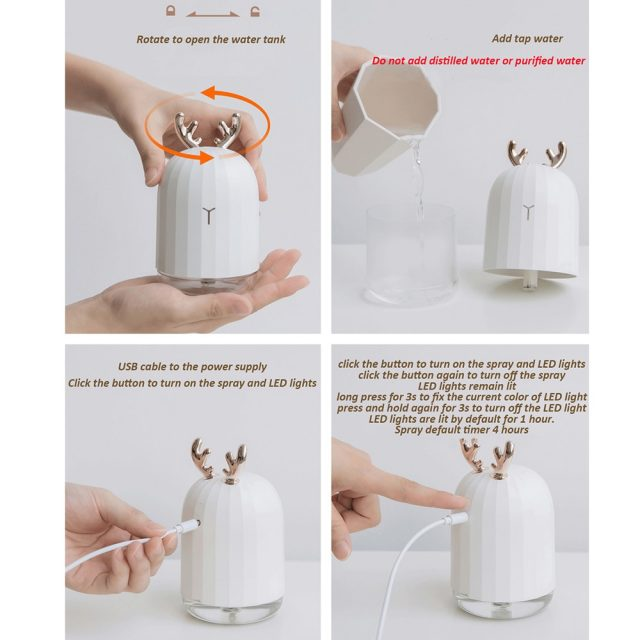 Ultrasonic Air Humidifier / Diffuser with Antlers / Ears