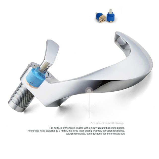 Interesting Shaped Deck Mounted Faucet Modern Tap for Bathroom